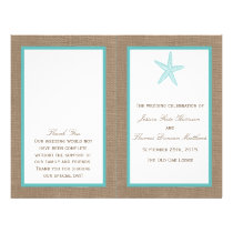 Turquoise Starfish Burlap Beach Wedding Collection Flyer