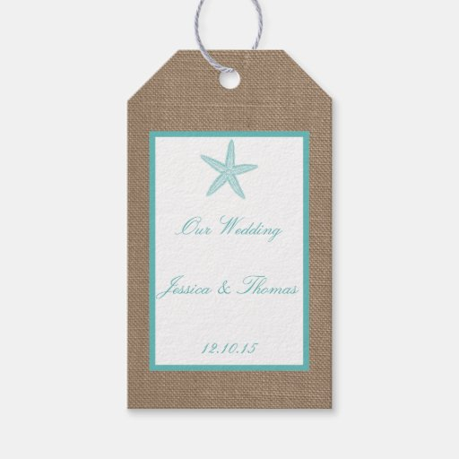 Wedding Gift Tag Lines : Turquoise Starfish Burlap Beach Wedding Collection Gift Tags Zazzle