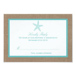 Turquoise Starfish Burlap Beach Wedding Collection 3.5x5 Paper Invitation Card