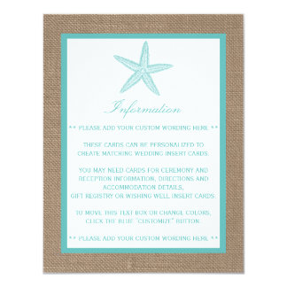 "Turquoise Starfish Burlap Beach Wedding Collection 4.25"" X 5.5"" Invitation Card"