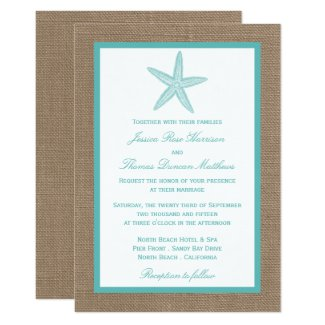 Turquoise Starfish Burlap Beach Wedding Collection Invitation