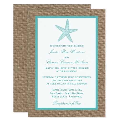 Turquoise Starfish Burlap Beach Wedding Collection Invitation