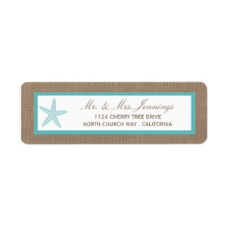 Turquoise Starfish Burlap Beach Wedding Collection Label