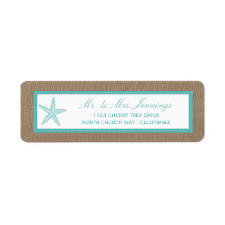 Turquoise Starfish Burlap Beach Wedding Collection Label at Zazzle