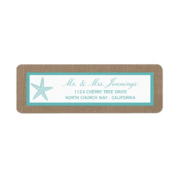 Beach Themed Turquoise Starfish Burlap Beach Wedding Collection Label