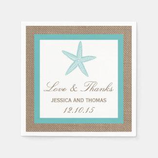 Turquoise Starfish Burlap Beach Wedding Collection Napkin