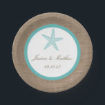 "Turquoise Starfish Burlap Beach Wedding Collection Paper Plate<br><div class=""desc"">The turquoise starfish on burlap beach wedding collection is perfect for any couple planning a romantic marriage by the sea. These paper plates can be personalized for your special occasion and would make the perfect item for any wedding, bridal shower, engagement party, birthday party and much, much more. *Please note...</div>"