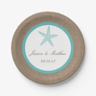 Turquoise Starfish Burlap Beach Wedding Collection Paper Plate