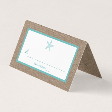 Turquoise Starfish Burlap Beach Wedding Collection Place Card