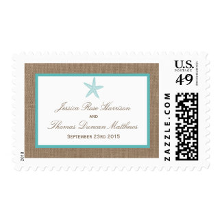 Turquoise Starfish Burlap Beach Wedding Collection Postage Stamp