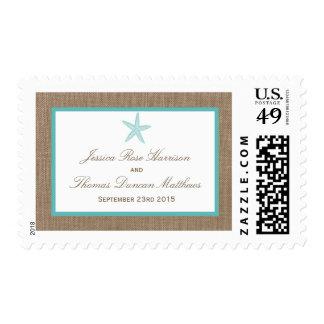Turquoise Starfish Burlap Beach Wedding Collection Postage Stamp