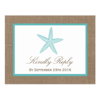 Turquoise Starfish Burlap Beach Wedding Collection Postcard