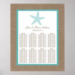Turquoise Starfish Burlap Beach Wedding Collection Poster