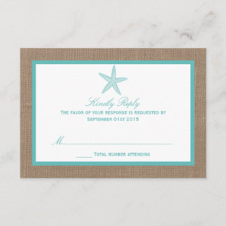 Turquoise Starfish Burlap Beach Wedding Collection RSVP Card