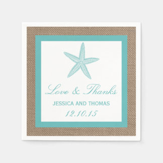 Turquoise Starfish Burlap Beach Wedding Collection Standard Cocktail Napkin