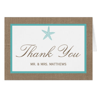Turquoise Starfish Burlap Beach Wedding Collection Stationery Note Card
