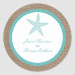 Turquoise Starfish Burlap Beach Wedding Collection Classic Round Sticker