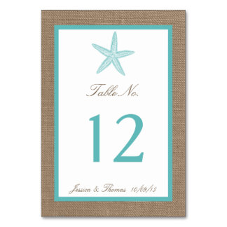 Turquoise Starfish Burlap Beach Wedding Collection Table Cards