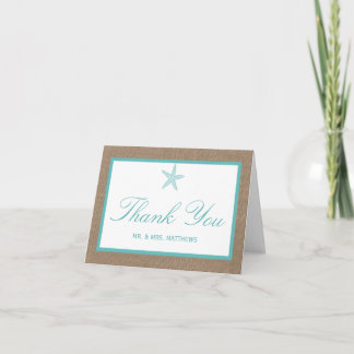 Turquoise Starfish Burlap Beach Wedding Collection Thank You Card