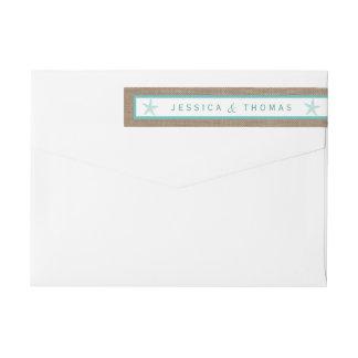 Turquoise Starfish Burlap Beach Wedding Collection Wrap Around Label