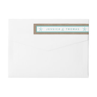 Turquoise Starfish Burlap Beach Wedding Collection Wraparound Return Address Label