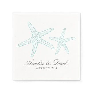 Turquoise Starfish Cocktail Napkins