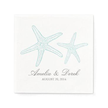 Beach Themed Turquoise Starfish Cocktail Napkins