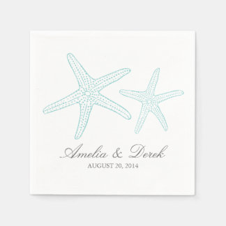 Turquoise Starfish Cocktail Napkins Disposable Napkins