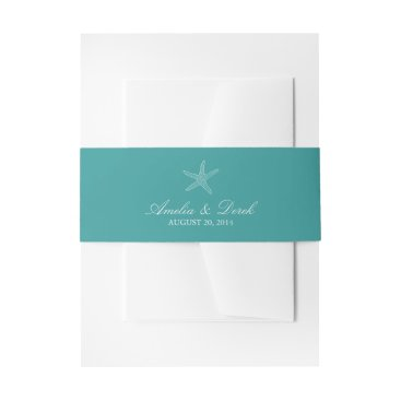 origamiprints Turquoise Starfish Invitation Belly Band