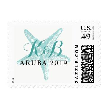 Beach Themed Turquoise Starfish Monogram Initials Stamp