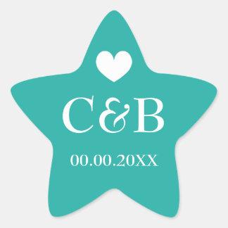 Turquoise starfish monogram wedding favor stickers
