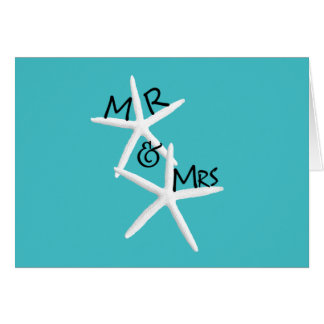 Turquoise Starfish Mr. And Mrs. Custom Note Cards