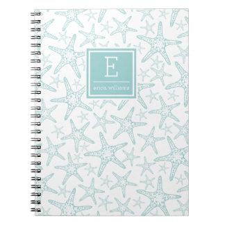 Turquoise Starfish Pattern Personalized Notebook