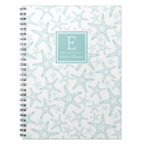Turquoise Starfish Pattern Personalized Spiral Notebook