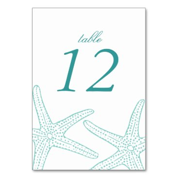 Beach Themed Turquoise Starfish Table Number Cards
