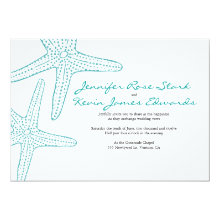 "Turquoise Starfish Wedding Invite 5"" X 7"" Invitation Card"