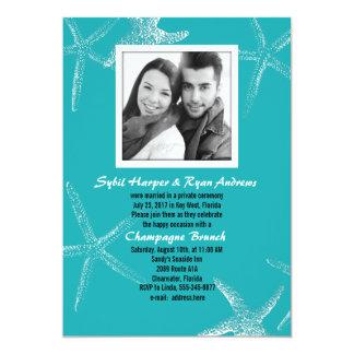 Turquoise Starfish Wedding Photo Reception Invite