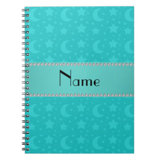Turquoise stars and moons personalized name journal