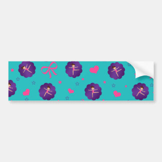 Turquoise stars hearts bows purple scallop gymnast bumper stickers