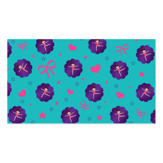 Turquoise stars hearts bows purple scallop gymnast business card