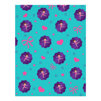Turquoise stars hearts bows purple scallop gymnast flyers