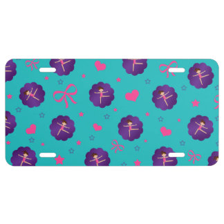 Turquoise stars hearts bows purple scallop gymnast license plate