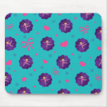 Turquoise stars hearts bows purple scallop gymnast mousepads