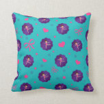 Turquoise stars hearts bows purple scallop gymnast pillow