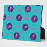 Turquoise stars hearts bows purple scallop gymnast photo plaques