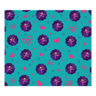 Turquoise stars hearts bows purple scallop gymnast poster