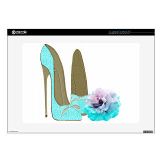 Turquoise Stiletto and Rose Art Skin For Laptop