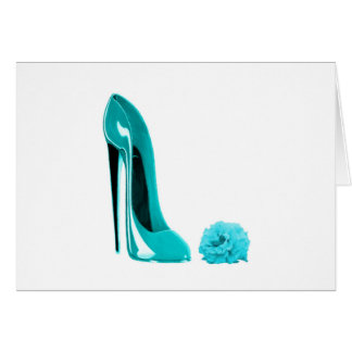 Turquoise Stiletto Shoe and Rose Card
