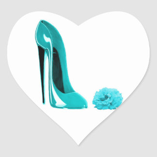 Turquoise Stiletto Shoe and Rose Heart Sticker