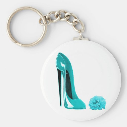 Turquoise Stiletto Shoe and Rose Key Chain